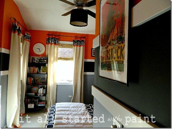 Boys Modern Orange Striped Bedroom Design Dazzle
