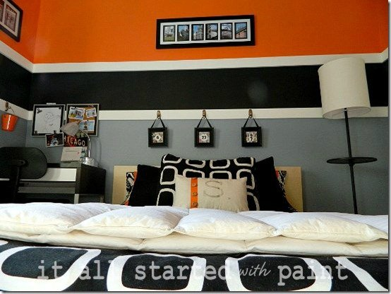 Boys Modern Orange Striped Bedroom Design Dazzle