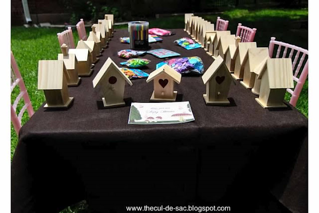 Woodland Fairy Birthday Party, bird houses, fairies, birthday party activities, woodland