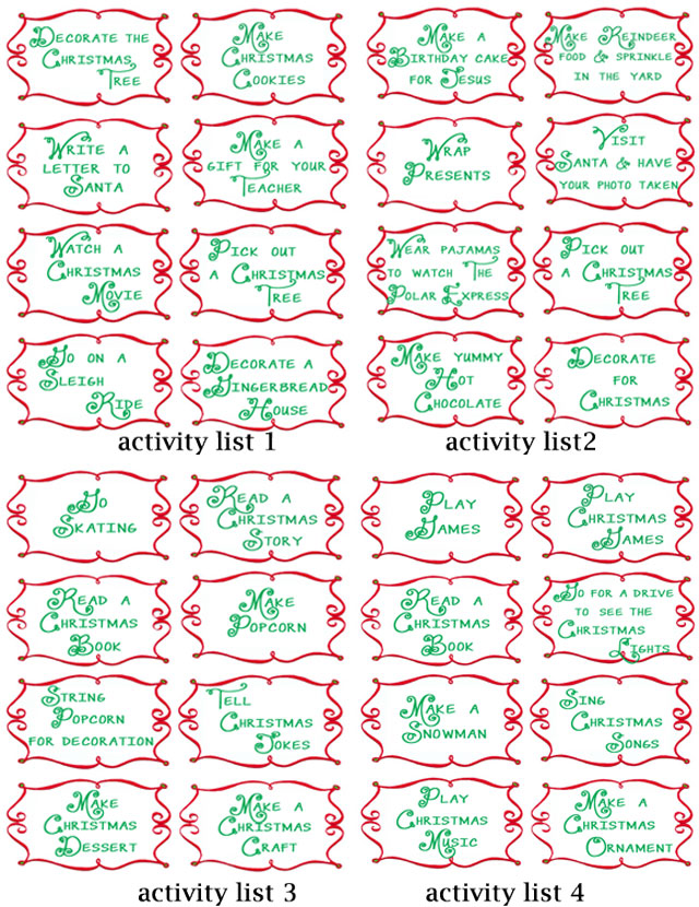 Advent Countdown Calendar including 100 activities - FREE Printables - Design Dazzle