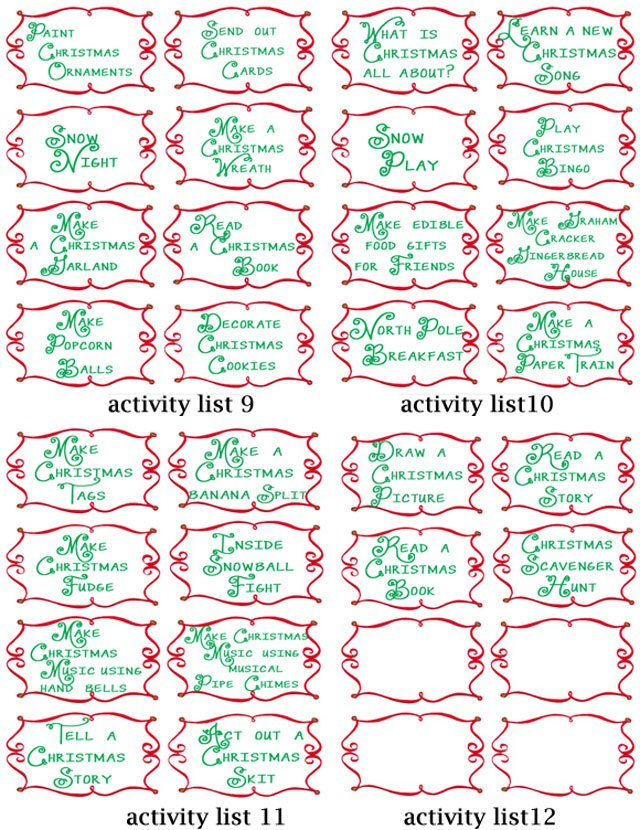 Advent Calendar List Ideas : Advent countdown calendar including activities free