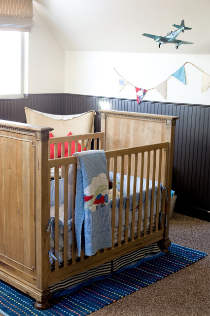 Airplane Nursery, crib, quilt, airplanes, boys rooms