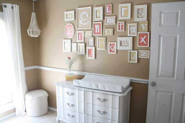 Adorable Alphabet Nursery with soft neutral colors! Love the fonts for the letters!
