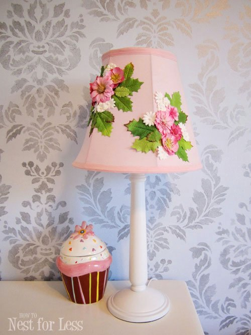 Anthro Inspired Flower Lamp Shade! Easy DIY project for a little girls room featured on Design Dazzle