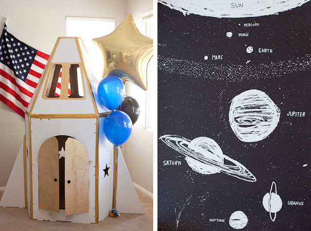 Out of this World {Pun Intended} Astronaut Birthday Party by Sara from Sara Westbrook Photography! Astronaut themed games, cake, and a DIY Space Ship will make all the kids go home on cloud 9!