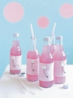 loving these baby shower drinks with cute fabric wraps and diaper