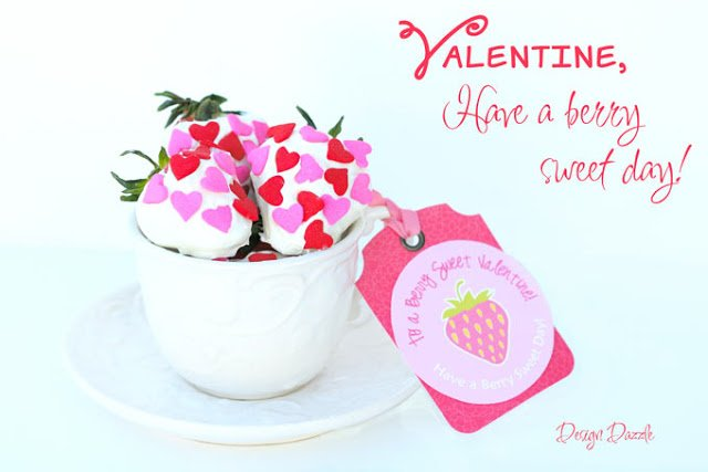 Strawberry themed Valentine printable