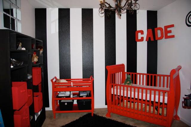bold black white red nursery design dazzle