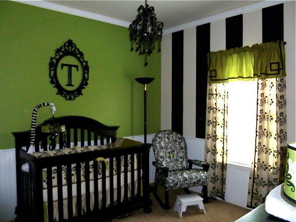 Girl 39 s nursery black white jalapeno green design dazzle - Green black white bedroom ...