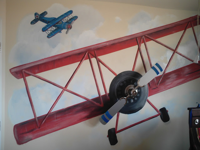Adorable Boys Airplane Room with a 3D airplane mural  So cool. Boys Airplane Room   Design Dazzle