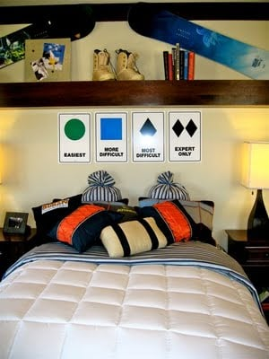 Simple Decor And Inexpensive Headboard Using Ski Trail Signs And A Shelf  Make For A Great Teen Boys Or Girls Room. ...