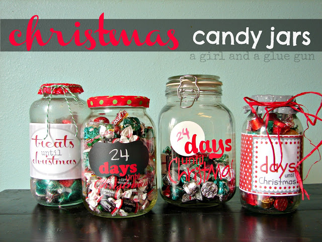 Christmas countdown candy jars