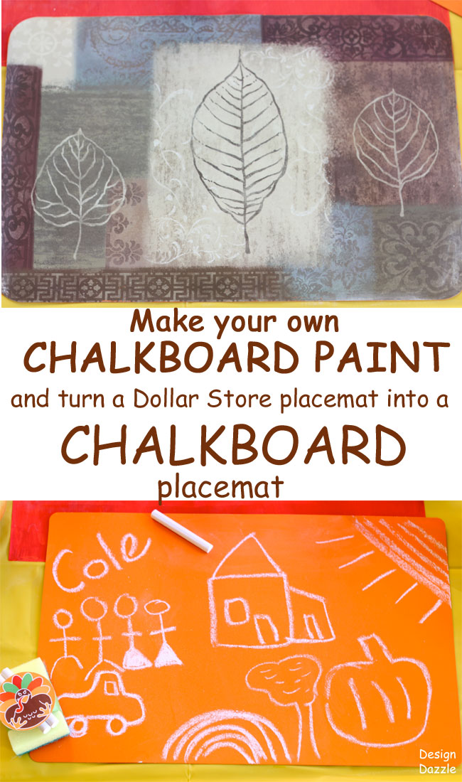 dollar store placemats made into colorful chalkboard placemats