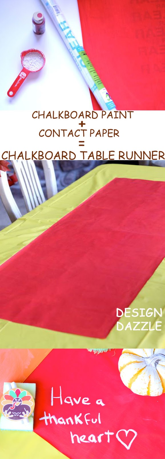 dollar store contact paper made into a colorful chalkboard table runner
