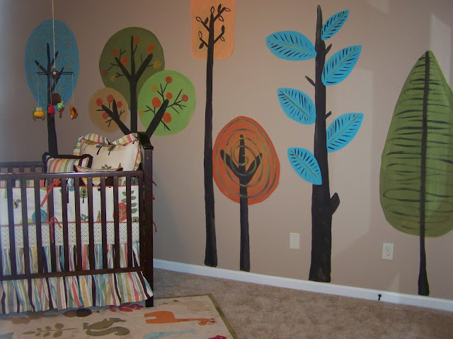 Amazing tree paintings for a gender neutral woodsy nursery! The the originality!
