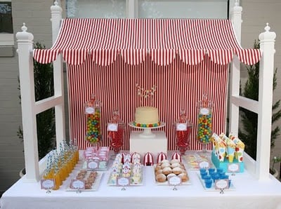 For this circus party a canopy frame supports the striped fabric giving the whole dessert table a circus tent look and feel. & Designing Table Backdrops - Design Dazzle
