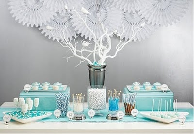 Mint and Silver Table Backdrop featured on Design Dazzle