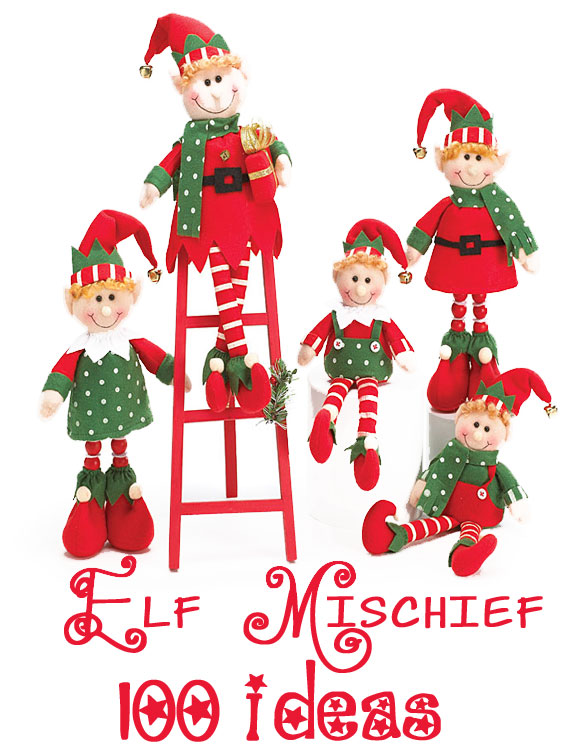 "100 Mischievous ELF Ideas. Not sure which one is our favorite. ""Elfing"" the car, elf spaghetti, the special way to arrive from the North Pole. So many awesome ideas! Design Dazzle #elfontheshelf #elfideas #elfmischief #christmaself"