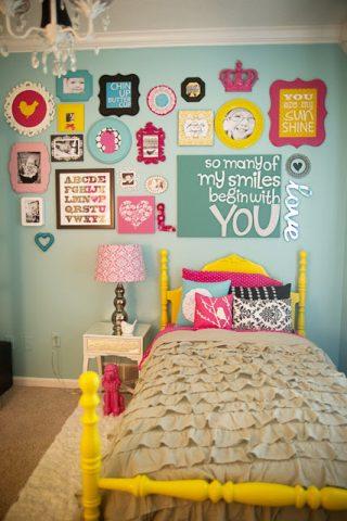 bright colored tween room