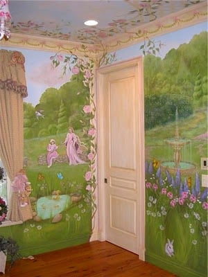 Princess murals design dazzle for Fairy castle wall mural
