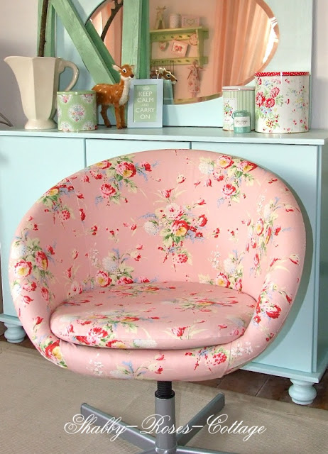 Awesome Ikea Hack, shabby chic, reupholstered chair, ikea