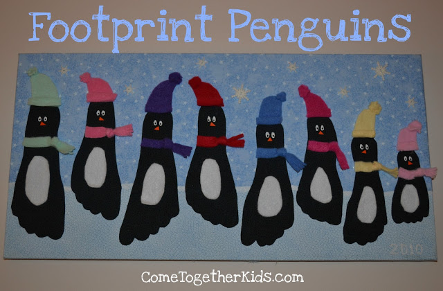 Keepsake Footprint Penguins of your family! A Perfect Family Craft featured on Design Dazzle.