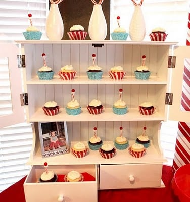Cupcake Bookcase Display