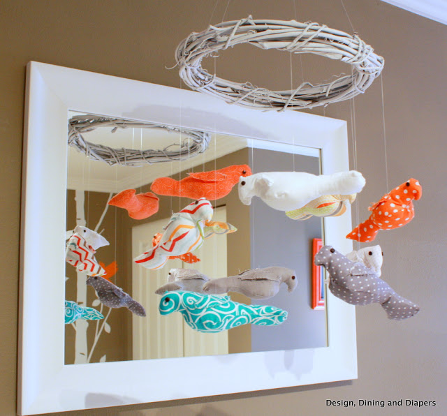Bird-Themed Nursery by Taryn at Designing, Dining + Diapers! DIY Bird Mobile that is perfection!