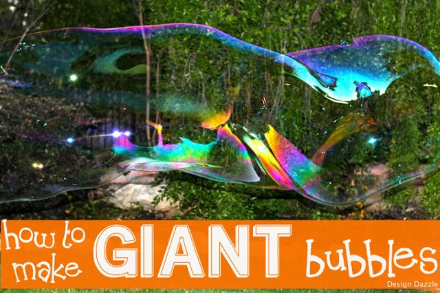 Perfect summer and fall activity for kids! Giant Bubbles!! More fun than kids will know what to do with!! Secret ingredient to make giant bubbles!   Design Dazzle