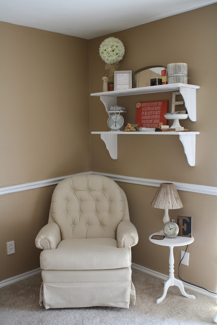 Adorable Alphabet Nursery with soft neutral colors! Perfect corner to rock a baby to sleep!