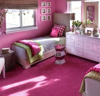 Sophisticated Girlu0027s Room: Palette Of Linen, Hot Pink And Green