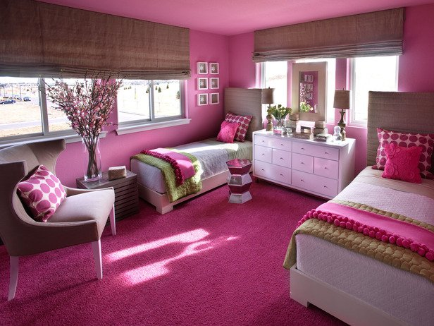 Sophisticated Girl\'s Room: Palette of Linen, Hot Pink and Green ...