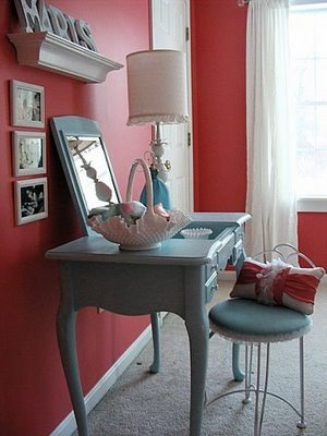 Charming Girls Room with Raspberry Colored Accents
