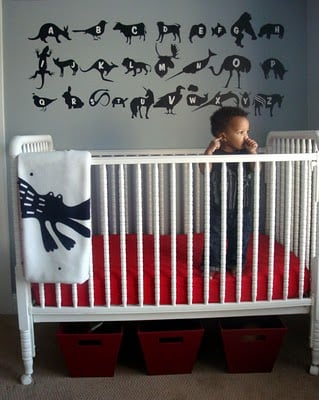 black white gray toddler room
