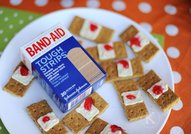 Halloween Edibles that are delicious and gross at the same time! Gram Cracker Band-aids!