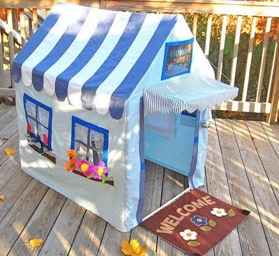 The creativity is unbelievable u2013 especially since she made this with thrifted bedsheets and a garage sale pvc frame. unbelievably cute kids playhouse  sc 1 st  Design Dazzle & Handmade Adorable Cottage Play House! - Design Dazzle