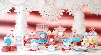 Flashy Red Striped Table Backdrop featured on Design Dazzle