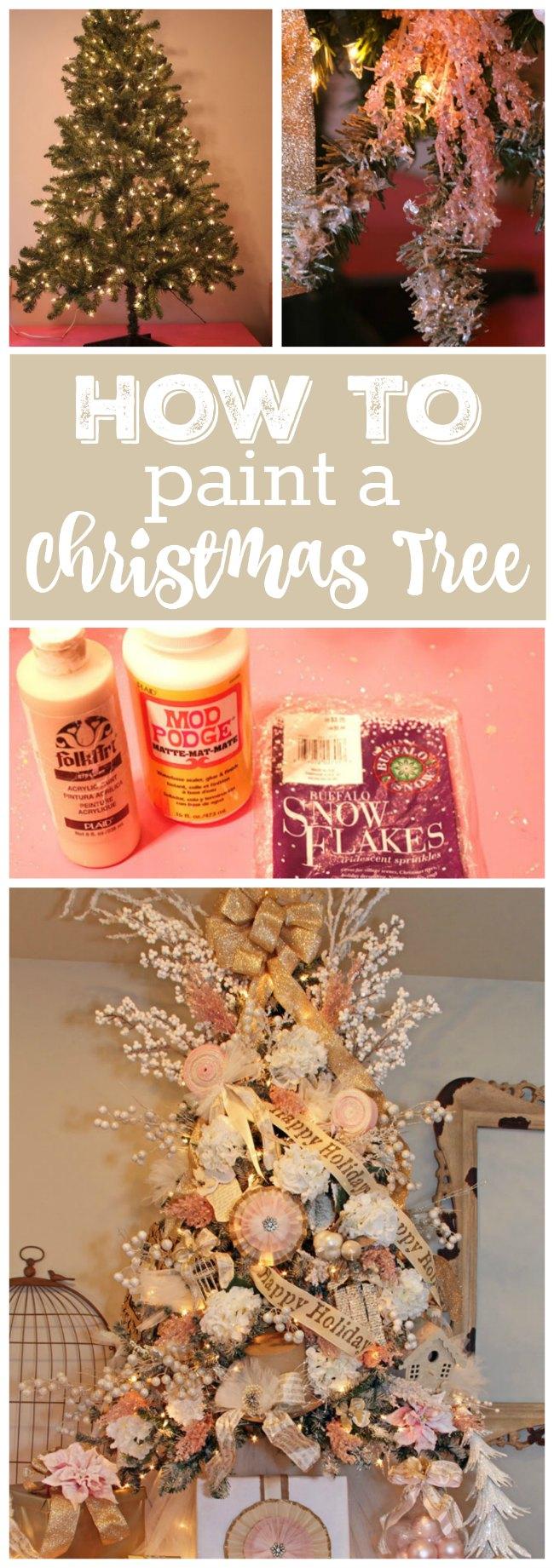 Learn how you can PAINT and create a beautiful Christmas Tree! Using mod podge & buffalo snow!