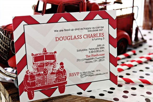Vintage Firetruck Party by The English Pea! The red chevron invitations with the vintage firetruck go so great together! We love this party idea!