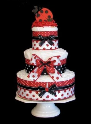 Adorable ladybug diaper cake for sale here.