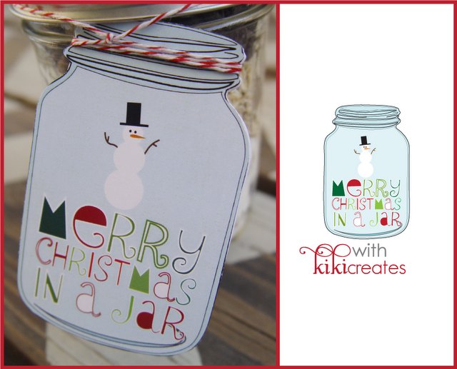 Merry Christmas in a Jar with Free Printable Tags! Cookies or hot cocoa are a perfect gift to give this Christmas! Featured on Design Dazzle