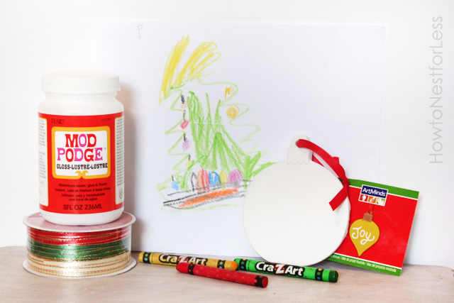 Supplies for creating custom artwork ornaments by your kids! Featured on Design Dazzle