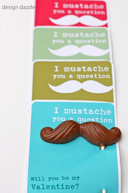 "Free Valentine Printable. I ""mustache"" you a question. Will you be my Valentine? Design Dazzle"