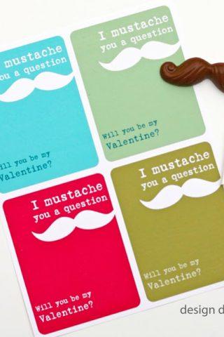 Free Valentine Printable. I mustache you a question! | Design Dazzle