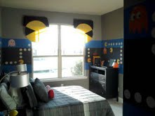 Kids Video Game Themed Rooms are so much fun! Pacman room by muralist Anita Roll is beyond words. So cool.