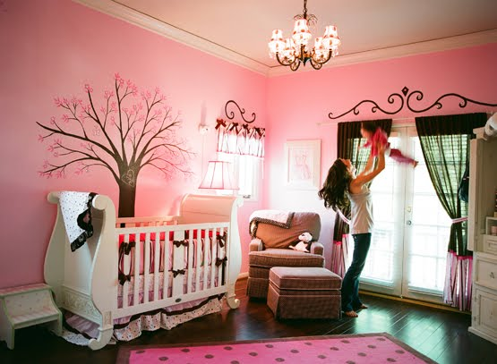 Pink brown wonderland nursery design dazzle for Brown pink bedroom ideas