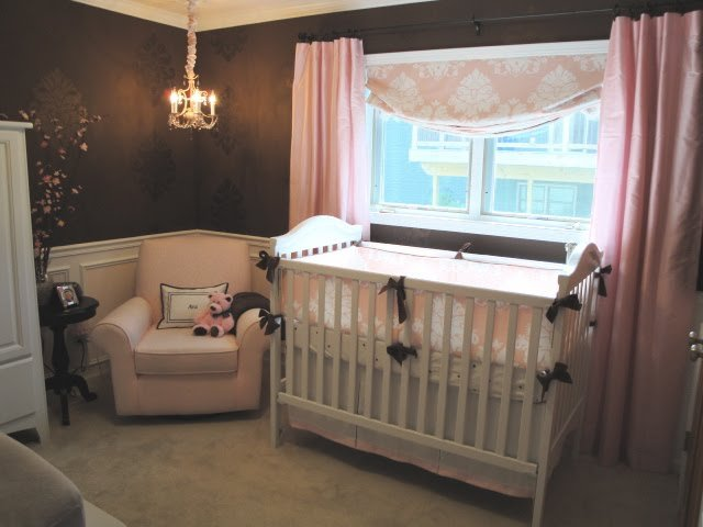 Brown pink sophisticated nursery design dazzle for Brown and pink bedroom ideas for a girl