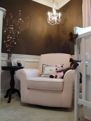 brown pink girls nursery