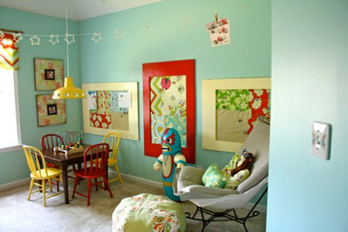 Playrooms play spots design dazzle - Funny playroom with colorfull wall paint idea ...