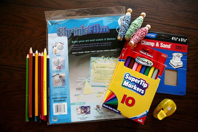 Supplies to make ornaments with Shrinky Dink featured on Design Dazzle